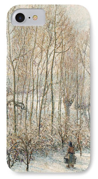 Morning Sunlight On The Snow Eragny Sur Epte IPhone Case by Camille Pissarro