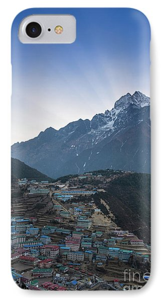 IPhone Case featuring the photograph Morning Sunrays Namche by Mike Reid