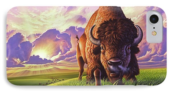 Bison iPhone 7 Case - Morning Thunder by Jerry LoFaro