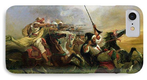 Moroccan Horsemen In Military Action IPhone Case by Ferdinand Victor Eugene Delacroix