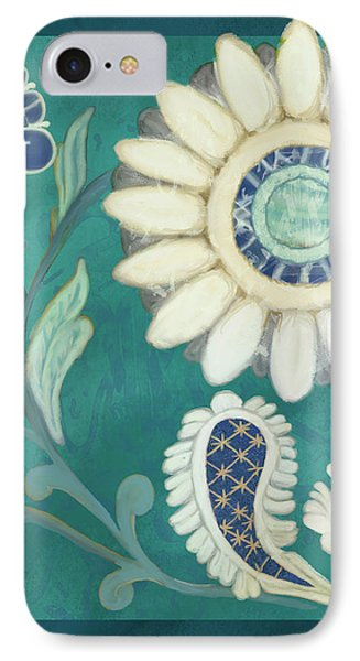IPhone Case featuring the painting Moroccan Paisley Peacock Blue 2 by Audrey Jeanne Roberts