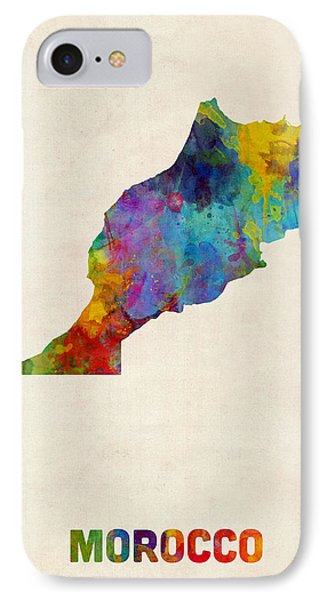 IPhone Case featuring the digital art Morocco Watercolor Map by Michael Tompsett