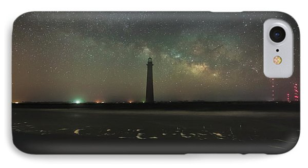 Morris Island Light House Milky Way IPhone Case by Robert Loe