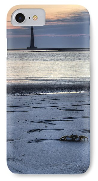Morris Island Lighthouse And Crab IPhone Case by Dustin K Ryan
