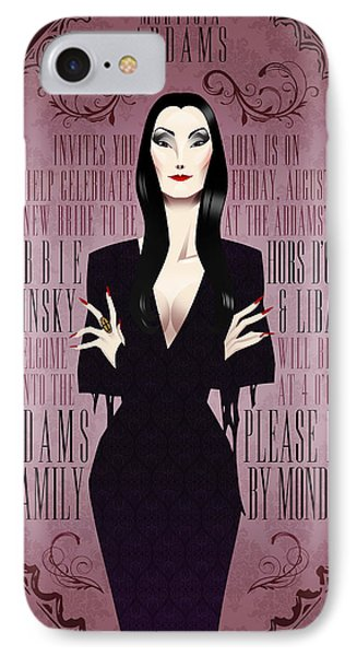 Morticia Addams Bridal Shower Invite IPhone Case by Christopher Ables
