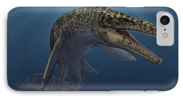 Mosasaurus Hoffmanni Swimming Phone Case by Sergey Krasovskiy
