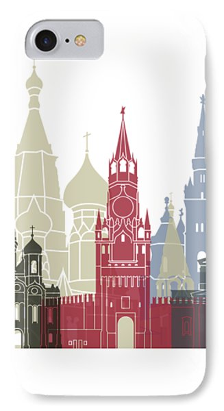 Moscow Skyline Poster IPhone 7 Case by Pablo Romero
