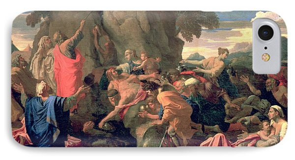 Moses Striking Water From The Rock IPhone Case by Nicolas  Poussin