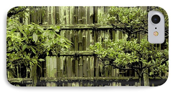 Mossy Bamboo Fence - Digital Art IPhone Case by Carol Groenen