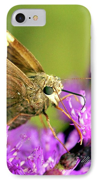 IPhone Case featuring the photograph Moth On Purple Flower by Meta Gatschenberger