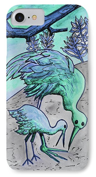 Mother And Baby Crane Abstract In Green IPhone Case