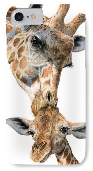 Giraffe iPhone 7 Case - Mother And Baby Giraffe by Sarah Batalka