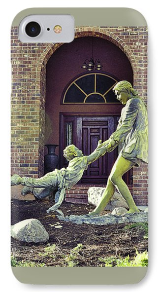 Mother And Child At Play Statue I IPhone Case by Linda Brody
