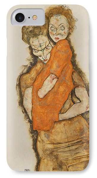 Mother And Child IPhone Case by Egon Schiele