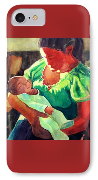 IPhone Case featuring the painting Mother And Child In Red2 by Kathy Braud