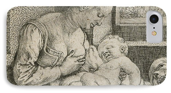 Mother And Child With Skull And Hourglass IPhone Case by Barthel Beham