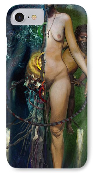 Mother And Son - Passing The Torch Of Vision IPhone Case by Amarnath Mukta