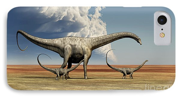 Mother Diplodocus Dinosaur Walks IPhone Case