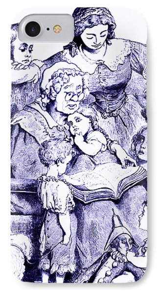 IPhone Case featuring the painting Mother Goose Reading To Children by Marian Cates