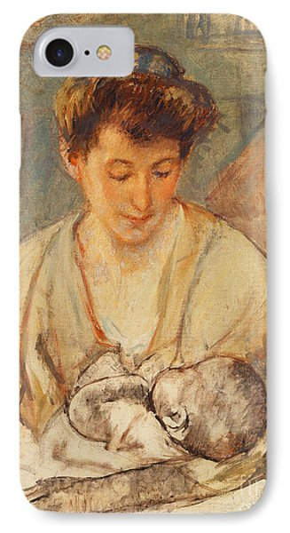 Mother Rose Looking Down At Her Sleeping Baby IPhone Case by Mary Stevenson Cassatt