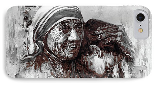 IPhone Case featuring the painting Mother Teresa Of Calcutta Portrait  by Gull G