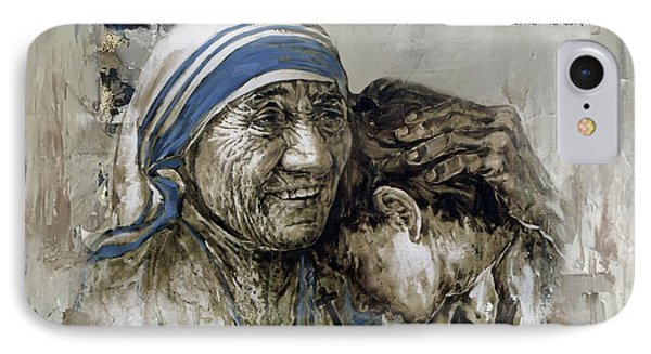 IPhone Case featuring the painting Mother Teresa Portrait  by Gull G
