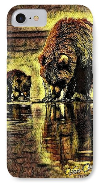 Mother With Young Cub - Autumns Arrival Abstract  IPhone Case
