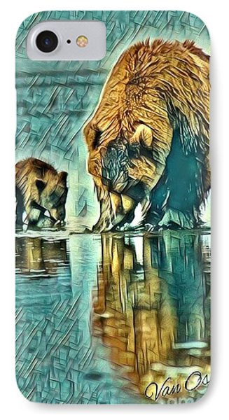 Mother With Young Cub - Morning Frost Abstract  IPhone Case