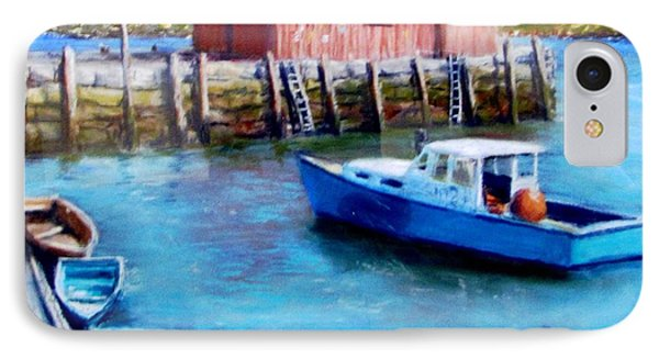 IPhone Case featuring the painting Motif One Rockport Harbor by Jack Skinner