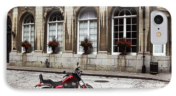 Motorcycle In Old Montreal Phone Case by John Rizzuto