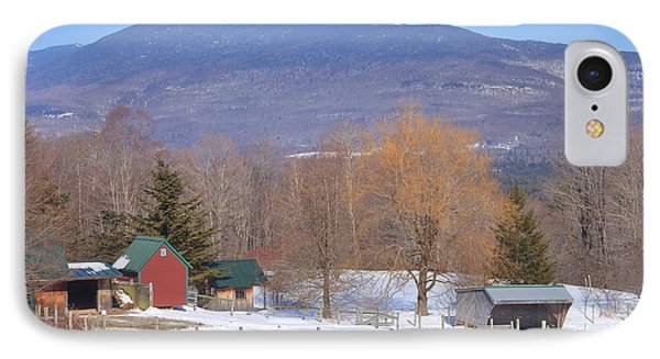 Mount Abraham And Winter Farm Green Mountains IPhone Case by John Burk