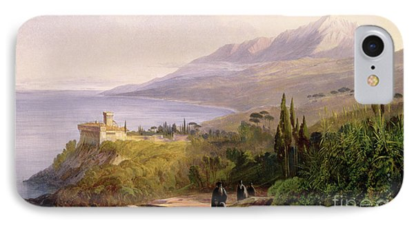 Mount Athos And The Monastery Of Stavroniketes IPhone 7 Case by Edward Lear