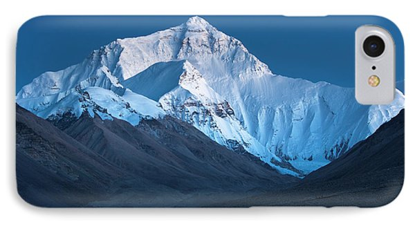 IPhone Case featuring the photograph Mount Everest At Blue Hour, Rongbuk, 2007 by Hitendra SINKAR