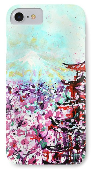 IPhone Case featuring the painting Mount Fuji And The Chureito Pagoda In Spring by Zaira Dzhaubaeva