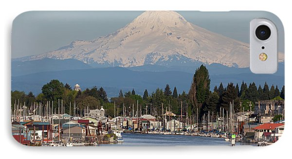 Mount Hood And Columbia River House Boats Phone Case by David Gn