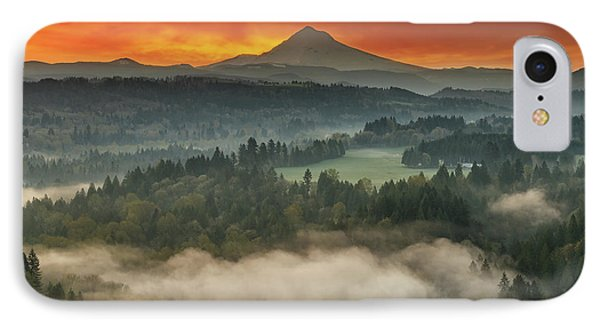 Mount Hood And Sandy River Valley Sunrise Phone Case by David Gn