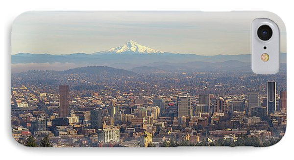 Mount Hood Over City Of Portland Oregon Phone Case by David Gn
