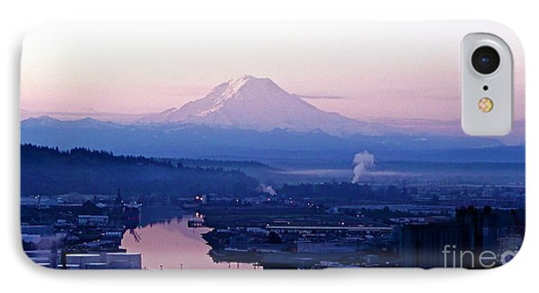 IPhone Case featuring the photograph Mount Rainier Dawn Above Port Of Tacoma by Sean Griffin