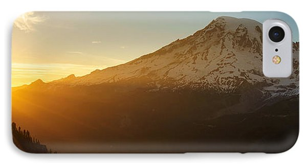 Mount Rainier Evening Light Rays IPhone Case by Mike Reid