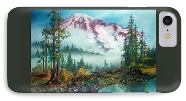 IPhone Case featuring the painting Mount Rainier by Sherry Shipley