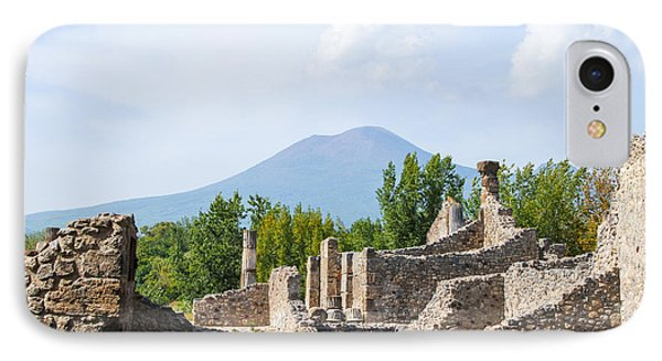 Mount Vesuvius Beyond The Ruins Of Pompei IPhone Case by Allan Levin