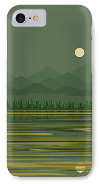 IPhone Case featuring the digital art Mountain Lake Moon by Val Arie