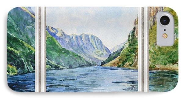 Mountain Lake View Window  IPhone Case by Irina Sztukowski