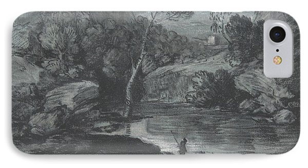 Mountain Landscape With A Castle And A Boatman IPhone Case by Thomas Gainsborough