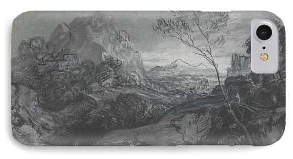 Mountain Landscape With Figures And Buildings IPhone Case by Thomas Gainsborough