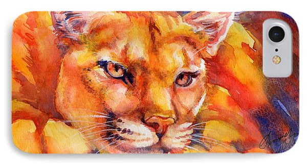 Mountain Lion Red-yellow-blue Phone Case by Summer Celeste