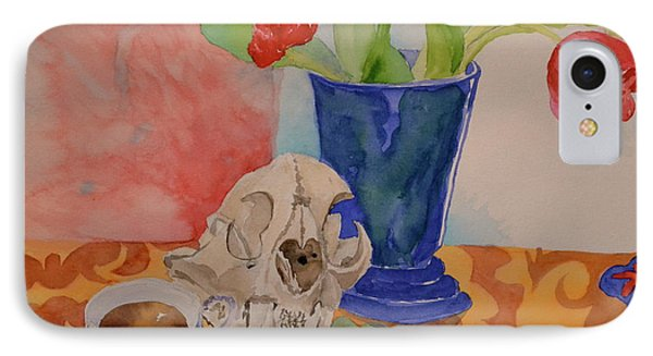 IPhone Case featuring the painting Mountain Lion Skull Tea And Tulips by Beverley Harper Tinsley