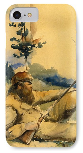 IPhone Case featuring the drawing Mountain Man by Charles Schreyvogel