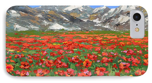 IPhone Case featuring the painting Mountain Poppies   by Dmitry Spiros