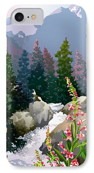 IPhone Case featuring the digital art Mountain Stream by Anne Gifford